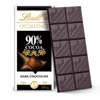 原裝進口 瑞士蓮Lindt排裝醇味巧克力 90%可可黑巧克力100g