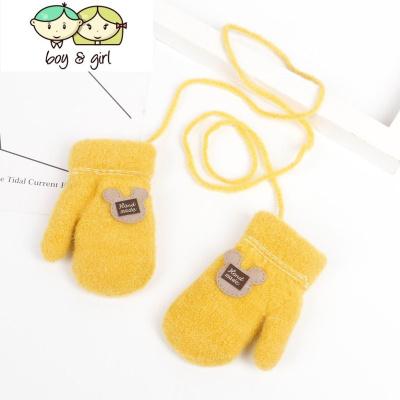 宝宝手套冬1-2岁婴儿男女幼童指手套连指加绒针织3-7岁儿童手套