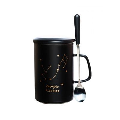 生日禮物女生創意實用秋冬新款生日禮物男女生創意實用12十二星座馬克杯創意陶瓷杯子個性簡約辦公室水杯情侶咖啡杯帶蓋勺