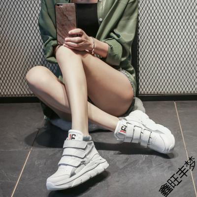 富悅美真皮透氣魔術貼高幫鞋2020春季新款厚底運動鞋歐洲站女鞋子