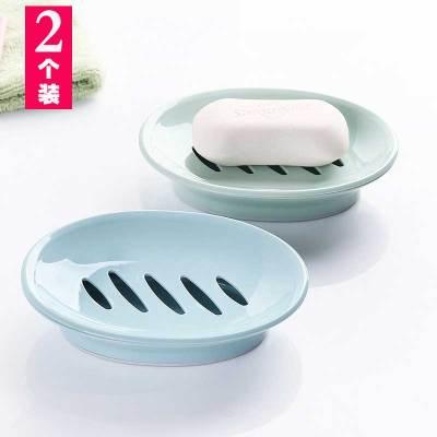 【2個裝】潘西歐式橢圓形肥皂盒洗手間塑料簡約雙格瀝水香皂盒浴室洗臉皂盒顏色隨機QQYL001713