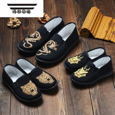 兒童一腳蹬布鞋鞋老北京兒童布鞋男童布鞋臉譜童鞋夏季面童鞋
