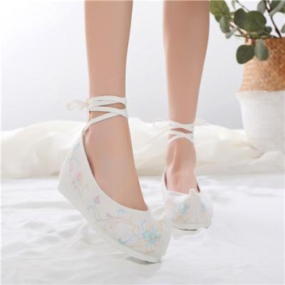 弓鞋白底鞋繡花鞋內增高鞋軟底鞋古風鞋廣場舞蹈鞋漢服鞋民族風鞋