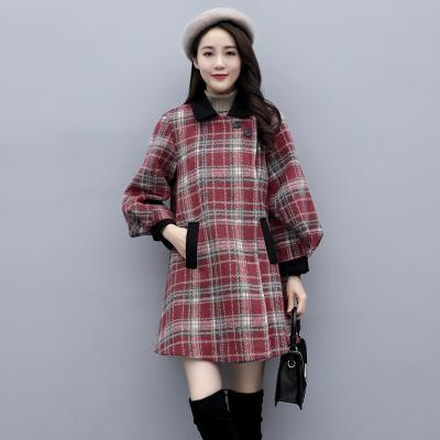 班俏BANQIAO千鳥格子毛呢外套女小個子2020年秋季新款韓版寬松輕熟風呢子大衣女裝