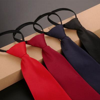 韓版男女懶人領帶 紅藍黑單色領帶 純色商務休閑職業領帶 上班正裝箭頭型拉鏈領帶 諾妮夢