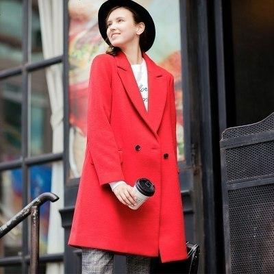 【2件1折價95.9元】唐獅秋冬新款呢大衣女純色西裝領中筒中長款外套紅色寬松時尚