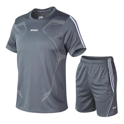 木林森(MULINSEN)夏季運動套裝男夏跑步健身寬松休閑速干t恤短袖短褲兩件套速干衣褲套裝