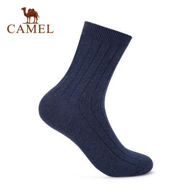 CAMEL駱駝戶外運動襪 2019新款男款騎行野營透氣舒適羅紋襪口運動長襪