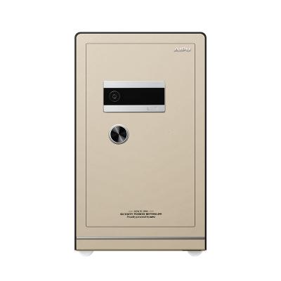 AIPU艾譜指紋保險箱3c認證家用入墻辦公防盜鑰匙密碼指紋保險箱/柜保險柜80cm高FDG-A1/D-78LZII土豪金