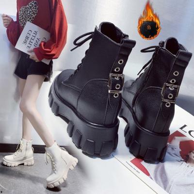 马丁靴女2019新款高跟英伦厚底网红百搭内增高短靴女冬季加绒
