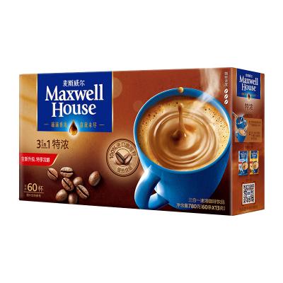 麦斯威尔 特浓三合一速溶咖啡 780g/盒 60条盒装(新老包装随机发货)