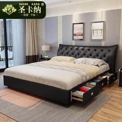 圣卡納 床現代皮床簡約現代1.8米雙人真皮床主臥婚床1.5米小戶型儲物家用皮藝床873#