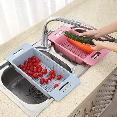 可伸縮洗菜盆淘菜盆瀝水籃長方形塑料水果盤家用廚房水槽洗碗收納 北歐藍