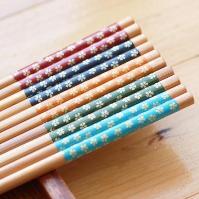 古笙记 格调生活小清新天然竹木筷子无漆日式原木竹筷子家用木筷五色选择