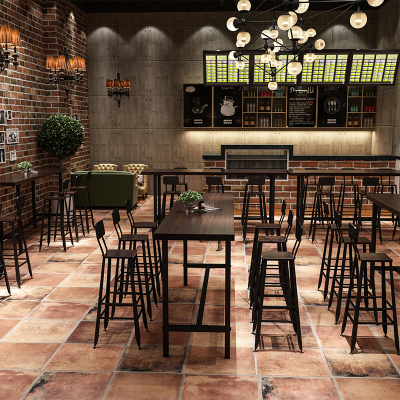 尋木匠美式鐵藝實木吧臺桌家用奶茶店咖啡廳餐廳酒吧桌靠墻高腳桌椅組合