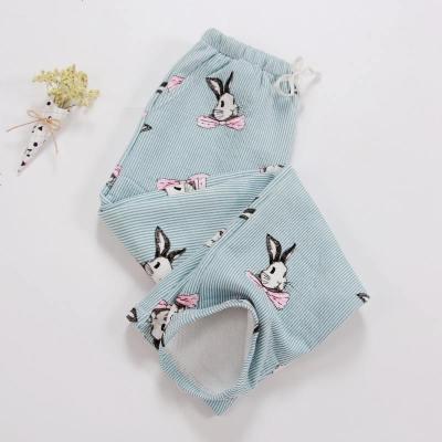 家居裤女睡裤加厚休闲长裤秋冬季针织彩棉保暖空气层宽松加大