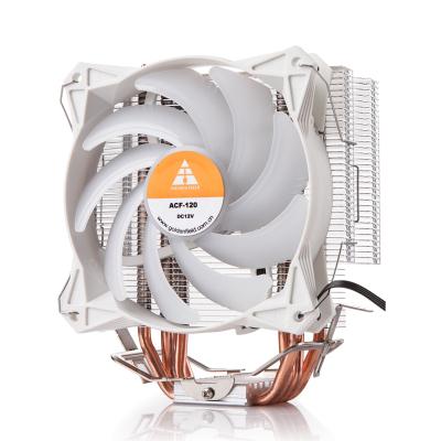 金河田炎冰智能版臺式機電腦風冷CPU散熱器風扇 白色款(多平臺/風冷/四熱管/12cm靜音風扇/炫光燈效)