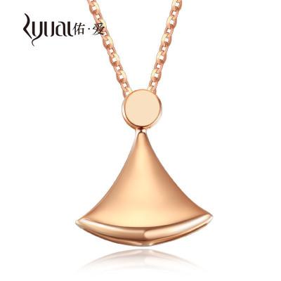 Ryual 18K金項鏈 玫瑰金女士項鏈彩金小裙子吊墜套裝 黃金女款計價款送戀人
