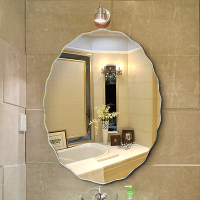 法蘭棋無框衛生間鏡子 壁掛洗手間廁所浴室鏡子懸掛貼墻衛浴鏡