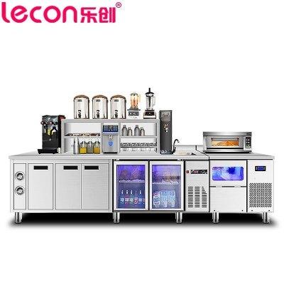 樂創(lecon)水吧臺 2.0米常溫工作臺 奶茶店設備全套商用吧臺 對開臥式冷柜烘焙設備 不銹鋼水吧臺 奶茶點水吧臺