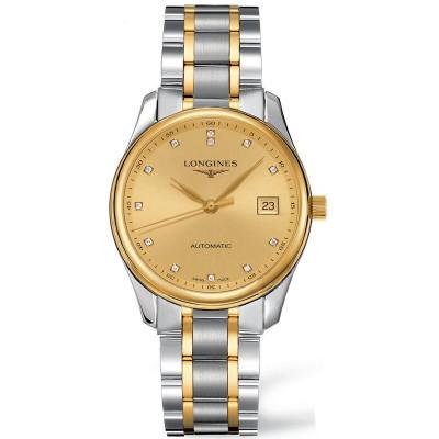 【二手95新】浪琴 制表傳統名匠系列 18K黃金刻度鑲鉆男士手表 金盤 36毫米 L2.518.5.37.7