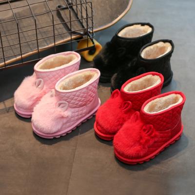 芳棋云品牌2018冬款女童鞋韩版兔毛女童靴子防滑儿童雪地靴中筒皮靴公主棉鞋
