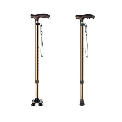 富林老人拐杖小四脚手杖铝合金带灯拐杖可伸缩腋下拐棍老年人拐杖
