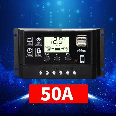太阳能控制器12v24v全自动电池板光伏充电控制器太阳能路灯控制器 12V/24V50A