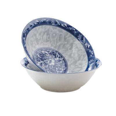瓷物语青花瓷斗笠碗7英寸日式家用拉面碗大号汤碗吃饭碗泡面碗陶瓷餐具(2只)