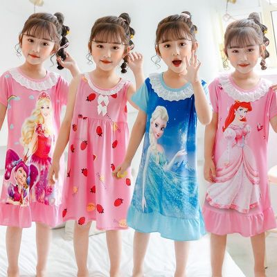 兒童睡裙5夏款4女童3小孩6中大童9-10歲7寶寶睡衣短袖8童裝家居服 臻依緣