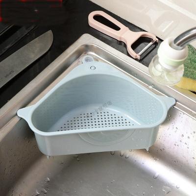 三角水瀝水籃吸盤式轉角廚房置物架廚房用品收納籃多功能瀝水架 瀝水籃1個裝【藍色】
