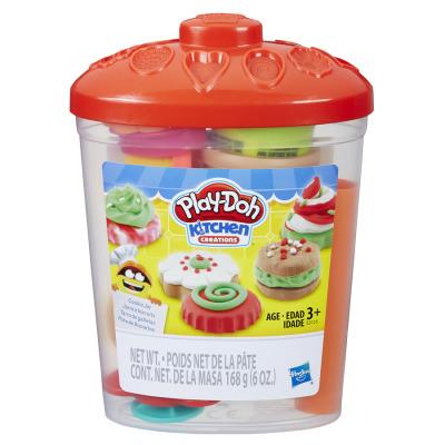 孩之寶Hasbro 培樂多曲奇工具桶 4色安全無毒橡皮泥 3歲以上男孩女孩兒童節禮物創意玩具