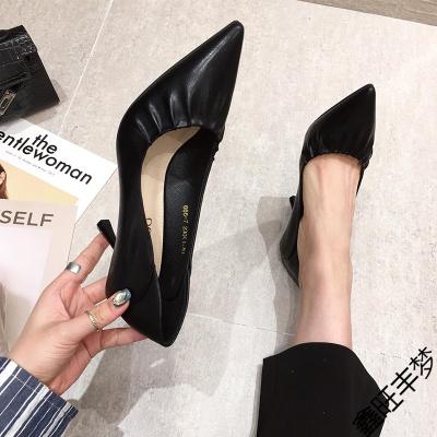 黑色高跟鞋女職業2020年秋季新款百搭軟皮不磨腳細跟淺口尖頭單鞋