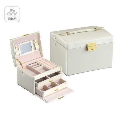 跨境pu皮革飾品 盒子三層雙抽屜珠寶首飾盒 公主珠寶首飾收納箱 雨絲紋白色