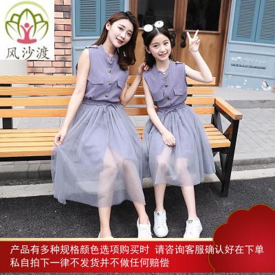 亲子装网红洋气连衣裙夏装女童棉麻网纱两件套母女装时尚图片件数为展示