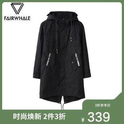 【3折價:339】商場同款馬克華菲棉衣男秋季連帽貼布印花長款棉服外套