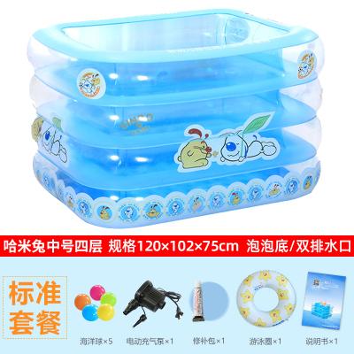 諾澳嬰兒游泳池充氣保溫嬰幼兒童寶寶游泳桶家用洗澡桶新生兒浴盆球池戲水池 藍色中號標準套餐