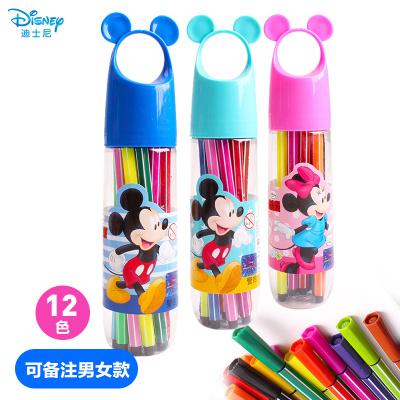 迪士尼(Disney)12色炫彩棒套装 初学者手绘可水洗画笔 儿童幼儿园小学生涂鸦笔(可备注米奇蓝、米奇绿、米妮粉)