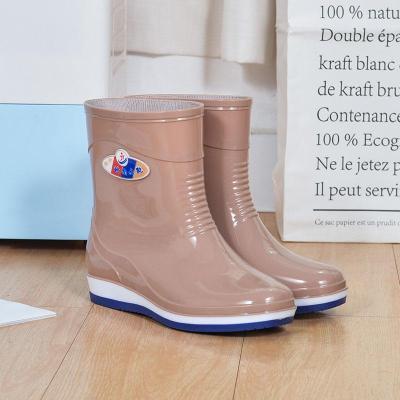 水鞋女中帮成人中筒雨鞋女 短筒时尚夏水靴女防滑雨靴女防水鞋莎丞