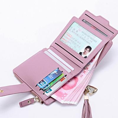 新款韓版小清新頭層牛皮錢包女 短款 流蘇錢夾 女士卡包女 駕駛證包 多功能錢包