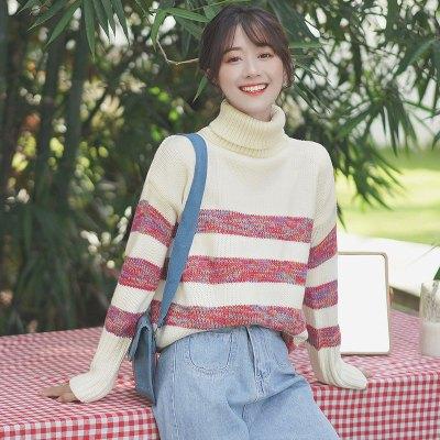 新款秋冬高领毛衣女宽松线衣学生内搭条纹加厚打底针织衫