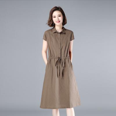 班俏BANQIAO棉麻連衣裙女短袖中長款新款夏裝2020減齡寬松休閑收腰媽媽