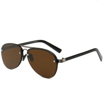 水晶玻璃太阳眼镜男潮开车驾驶户外个性墨镜复古茶色中老年遮光镜 无框(茶色镜片)