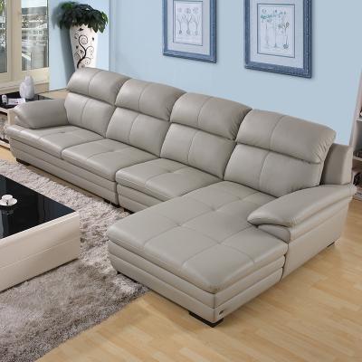 左右真皮沙发 简约现代大户型客厅皮质家具转角带贵妃位皮艺沙发组合DZY2821