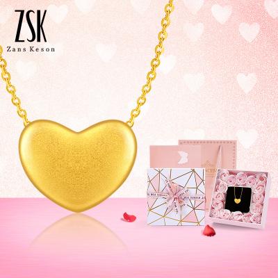 【送銀項鏈】ZSK珠寶黃金吊墜女 3D硬足金999時尚愛心吊墜女款18k黃金項鏈 情人節送女朋友禮物 黃金飾品珠寶首飾