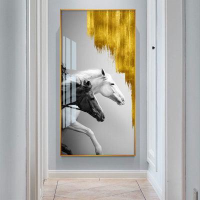 輕奢現代簡約玄關裝飾畫客廳豎版掛畫入戶進走廊過道墻壁畫麋鹿 L馬到成功 40cm*80cm玫瑰金框【晶瓷畫】+外框