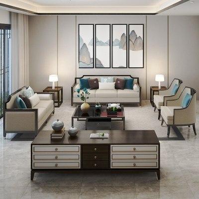 HOTBEE新中式实木沙发组合现代简约客厅样板间会所布艺沙发禅意定制家具