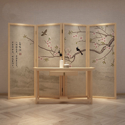 新中式屏风折叠移动玄关隔断装饰客厅遮挡家用简易实木简约现代