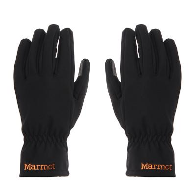 Marmot/土撥鼠戶外防水休閑舒適男女時尚有型M1軟殼手套黑色-橘色231
