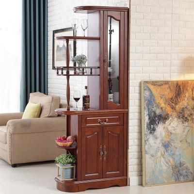 顶顶卓木美式乡村实木小户型80cm间厅柜 门厅玄关柜 家用双面酒柜屏风柜